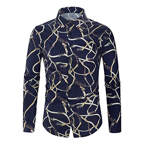 FONMA Men's Autumn Winter Casual Blouse Collar Button Shirts Print Long Sleeve Top