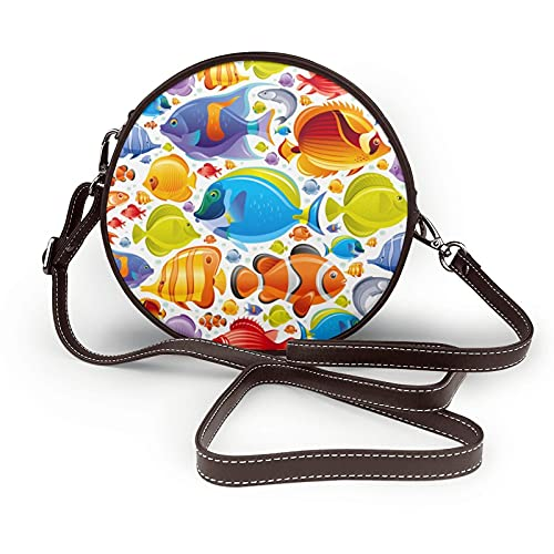 Tropical Fish Elegant Modern Style Butterfly Marine Fishes Crossbody Bags Shoulder Round Bag For Women Circular Handbags Pu Leather Zipper Purse Personalized