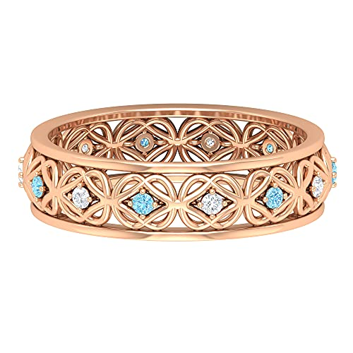 Gold Celtic Knot Band Ring with Aquamarine and Diamond, 14K Rose Gold, Size:US 6.50