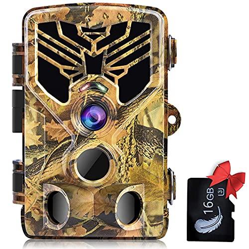 SUNTEKCAM Caméra de Chasse 24 MP 2.7K avec détecteur de Mouvement Vision Nocturne Caméras avec Infrarouge Lumière légère IP66 Étanche pour la Chasse et l'observation des Animaux