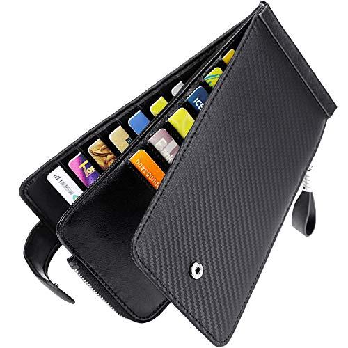 Huztencor Brieftaschen für Männer und Frauen, schmal, RFID-blockierend, echtes Leder, Kreditkartenhalter, lange Brieftaschen, Bifold, Reisepass, Scheckbuchhülle, Kohlefaser, Schwarz