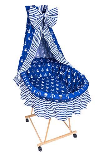 Amilian® 9tlg Textile Ausstattung für STUBENWAGEN Bollerwagen Himmel Matratze Baby Bettwäsche Anker groß Blau