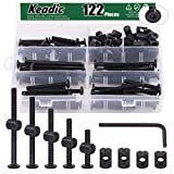 Keadic 122Pcs M6 x 35/45/55/65/75mm Baby Bed Screws Hardware Replacement Kit, Black Hex Socket Cap Bolts Barrel Nuts Assortment Kit for Furniture Cots Beds Crib, 1 Hex Key and Plastic Box for Free