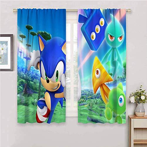 Cortinas opacas para dormitorio Sonic the Hedgehog guardería con bolsillo para barra de cortina, aislamiento térmico, paneles cortos, decoración del hogar, 72 x 63 pulgadas