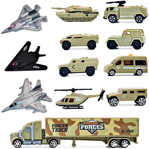deAO Armee-Verteidigungseinheitsspielset- Soldatenspielfiguren, Fahrzeuge und weiteres Zubehör Set mit 12 Stück