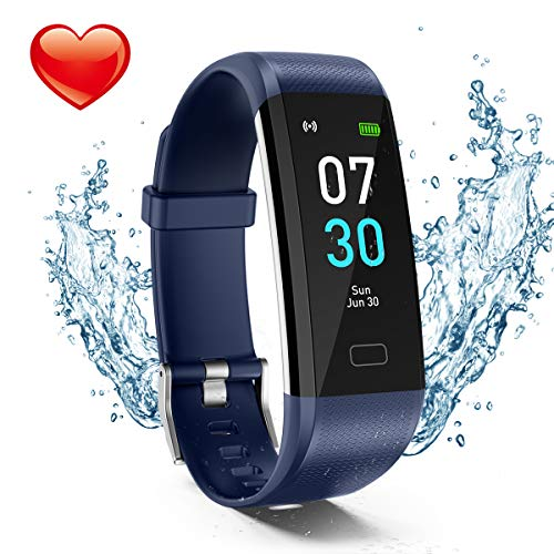 Fitness Tracker, Activity Tracker Watch with Heart Rate Monitor, Waterproof IP68 Pedometer with Step Counter Sleep Monitor Calorie Counter for Android and iPhone (2019 New Model)