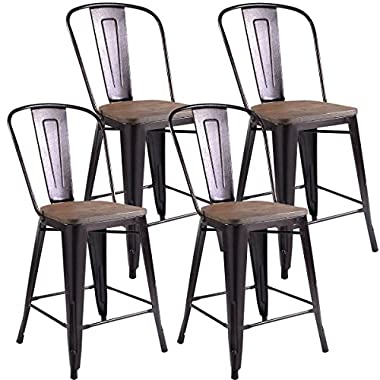 COSTWAY Tolix Style Dining Stools with Wood Seat and Backrest, Industrial Metal Counter Height Stool, Modern Stackable Kitchen Dining Bar Chairs Rustic, Copper (Height 24  4PC)