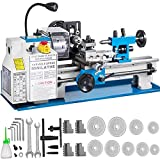 VEVOR Mini Torno de Metal 550 W Diámetro del Mandril 100 mm Mini Torno de Precisión Distancia entre Centros 300 mm 50-2500 RPM Máquina de Torno para Fabricación de Buje, Husillo, Prototipo, Modelo