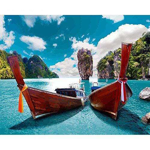 Schilderen op nummer DIY Dropshipping 40x50cm Twee boten met lange staart Stilleven Canvas Bruiloft Decoratie Kunstfoto Cadeau Geen lijst