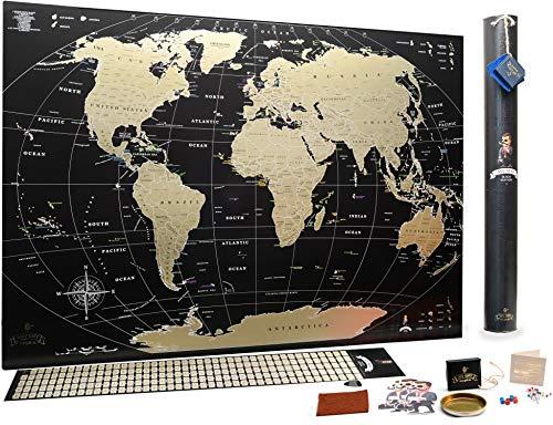 *Schwarze Rubbel Weltkarte – Hochwertige Qualität – Rubbelweltkarte Deluxe Edition – Weltkarte zum frei rubbeln – Weltkarte zum Freirubbeln – Rubbelkarte – Landkarte (gold)*
