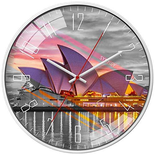 LANKOULI Rezeption Wanduhr Wohnzimmer Wind stumm Wandkarte Uhr Tisch-14 Zoll_Weißer Rahmen des australischen Sydney Opera House