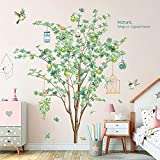RW-DZ29 Large Green Tree Wall Decals 3D Green Tree Birds Wall Stickers Birdcage Plant Flower Decals DIY Removable Green Tree Animals Wall Art Decor for Kids Baby Bedroom Living Room Nursery Office