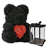 Ksnrang Festival de Regalo Regalo Creativo de Navidad Regalo de San Valentín Día de San Valentín Rose Oso Amazon Venta-Oso Negro con Caja de Regalo de corazón Rojo