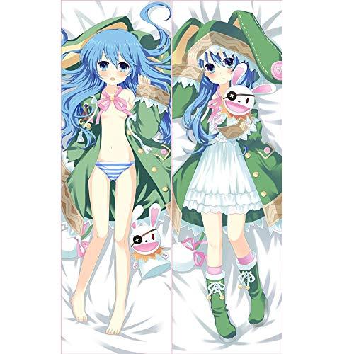 Datum A LIVE: Himekawa Yoshino Anime Kissenbezug/Kissen Körper, Anime Pretty Girl blau-weiß gestreiften Höschen Beidseitige Muster Peach Skin / 2WT Dekokissen Fall, Otaku und Anime Lieblingskissenbe