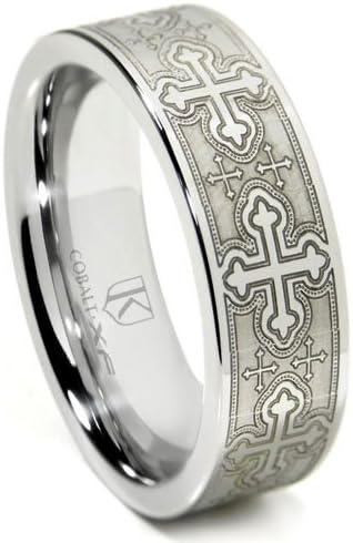 Titanium Kay Cobalt XF Chrome Laser Engraved Wedding Band Ring w/Cross Designs