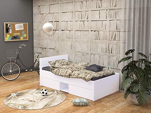 Kinderbett Jugendbett und Matratze - 180x90 cm + Weiss - Jazz (Weiss)