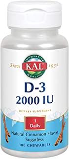 KAL D-3 2000 IU Sugarless Chewable Vitamin Tablets, Cinnamon, 100 Count