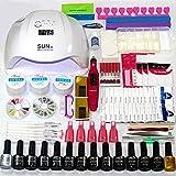 Kit de decoración de uñas, secadores de uñas para gel y esmalte regular, secador de uñas eléctrico, juego de uñas, luz UV para casi todas las uñas pegamento LED, construcción, gel de escultura