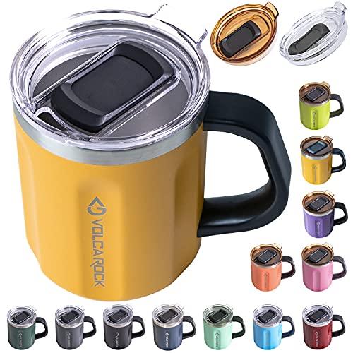 Taza de café VOLCAROCK con asa, de acero inoxidable aislado de 473 ml, taza de café grande, taza de viaje de doble pared, mantiene el frío 6 horas y mantiene caliente 5 horas (mango)