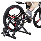 YADEOU Bike Trainer Stand, Magnetic Bicycle Stationary Stand for Indoor Riding with Noise Reduction Wheel Portable Stainless Steel Cycling Exercise Trainer Resistance for Road & Mountain Bikes