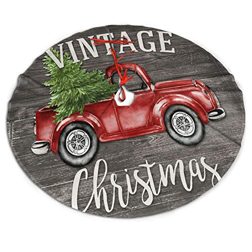 Farm Rustic Vintage Retro Old Christmas Red Truck Themed 30 36 48 Inch Big Giant Christmas Tree Skirt Carpet Mat Rugs Cover Large Round Pad Classic Xmas Party Favors Ornament Decoration Supplies