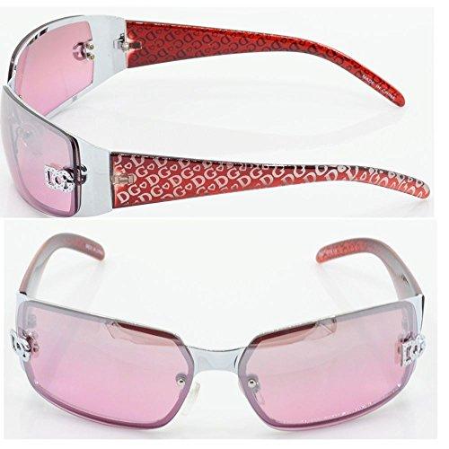 New Women DG Sunglasses Eyewear Rectangular Rimless Wrap Shades Fashion Red 5024