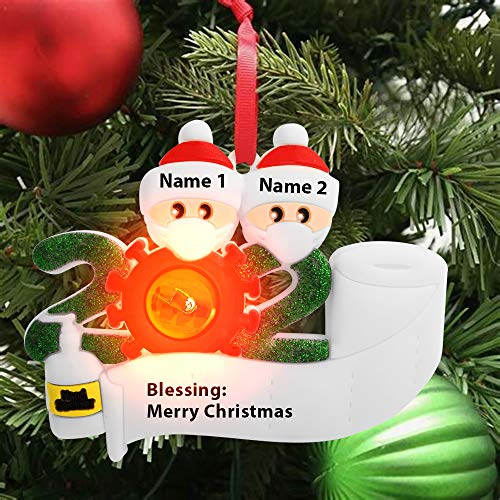 RUIFENG 2020 Christmas Ornament Quarantine Personalized Christmas Decorations with LED Lights Can Bring A Warm and Joyful Holiday Atmosphere to Christmas(Family of 2)