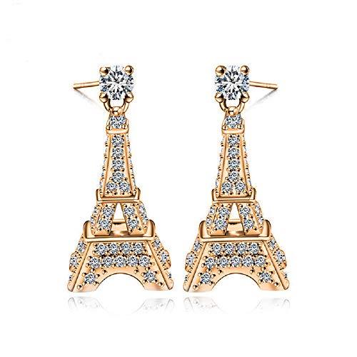 Love Paris Eiffel Tower Crystal Stud Dangle Earrings (Gold) Parisian Theme Pendant Fashion Women Girl Jewelry.