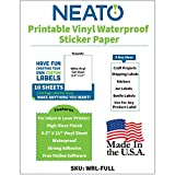 Printable Vinyl Waterproof Sticker Paper for Inkjet and Laser Printer - 10 White Full Sheet Super Glossy Craft Labels - Strong Adhesive - Tear Resistant - Made in The USA - Design Software Included