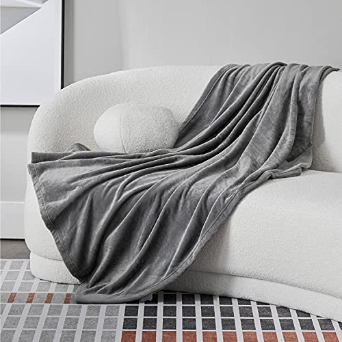 Bedsure Fleece Throw Blankets for Couch Grey - Cozy Lightweight Soft Blankets and Throws for Sofa, 50x60 inches