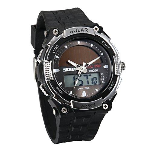JewelryWe Reloj Deportivo Energía Solar Reloj de Hombre Digital para Aire Libre A Prueba de Agua 5 ATM, Tiempo Dual Reloj Digital Analógico con Luz del Fondo, Plateado