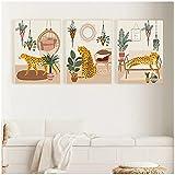 ZQXXX Animal tropical salvaje leopardo imagen de la selva abstracta lienzo pintura pared arte cartel e impresiones decoración del hogar -50x70cm X3Sin marco