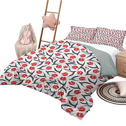 Nomorer Quilt Set for Kids King Size Tulip Extra Soft & Fade Resistant Vintage Inspired Tulips