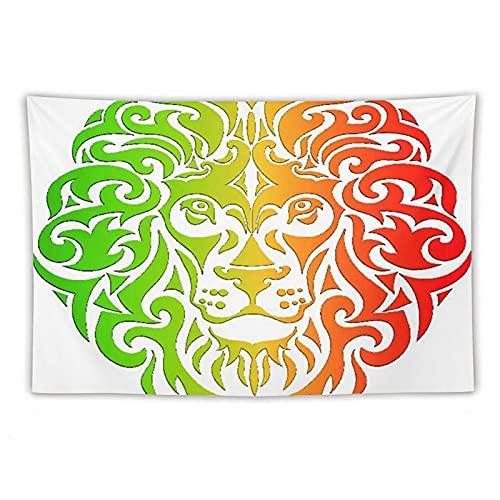 Manta Tapiz Para Colgar En Pared,Tema rasta con cabeza de león, Estera Picnic Decoración Sala Estar,60x90'