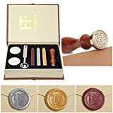 Wax Seal Stamp Kit, PUQU Classical Old-Fashioned Antique Wax Stamp Seal Kit Initial Letters Alphabet Set Gift Box with Vintage Wooden Handle and Brass Color Head