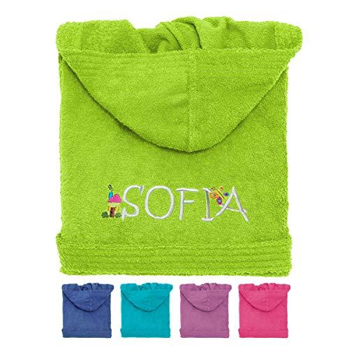 Albornoz infantil de rizo con capucha personalizable, color azul, rosa, verde, morado y turquesa (2 años)