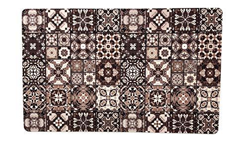 De'Carpet Alfombra Suelo Baldosa Hidráulica Original Moderna Lavable Marrón (57x190cm)