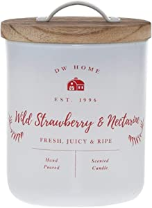 DW Home Charming Farmhouse Collection Wild Strawberry & Nectarine Scented Single Wick Candle Topped with Rustic Wooden Lid
