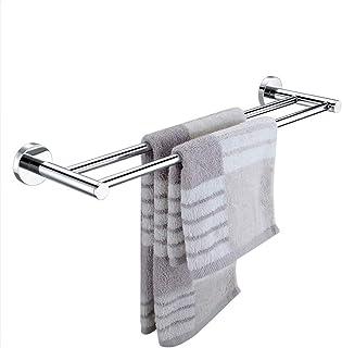 PPCP Copper Towel Rack Bathroom Towel Bar Double Pole Hanging Towel Rack Long Perforated Towel Hanging Bathroom Storage Ha...