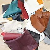 Lederhandel.com Cuir Reste de Bricolage en Cuir de 1 kg de Couleur Mélangée, Tous Les Morceaux au Minimum. Format A6 et Plus Grand, pour Bricolage et Couture.