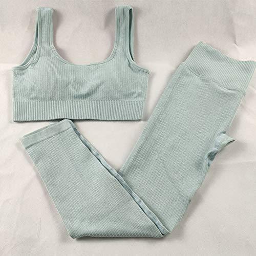Conjunto de ropa deportiva para mujer, cintura alta, leggings y sujetador deportivo, ajuste elástico, conjunto de 2 piezas