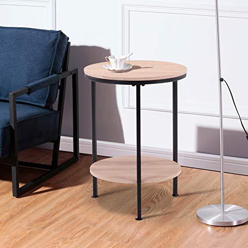 GOLDFAN Mesa Auxiliar para Salon Mesa Centro Redondas Pequeña Mesa de Salón Sofa Mesa de Café Mesa de Teléfono Madera Beige