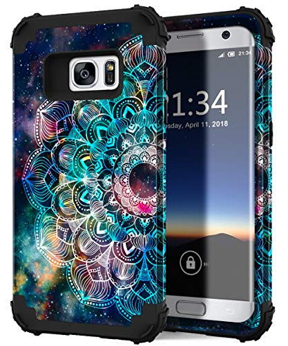 Hocase Galaxy S7 Case, SM-G930 Case, Heavy Duty Shockproof Hard Plastic+Silicone Bumper Full Body Protective Phone Case for Samsung Galaxy S7 G930 with Cute Flower Design - Mandala in Galaxy
