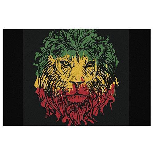 ZCHW Felpudo de PVC con Cara de león, Colores Rasta, Alfombrillas de Bienvenida, Entrada al Aire Libre, Alfombra de Entrada, Alfombra para el hogar, alfombras de baño Antideslizantes 40X60CM