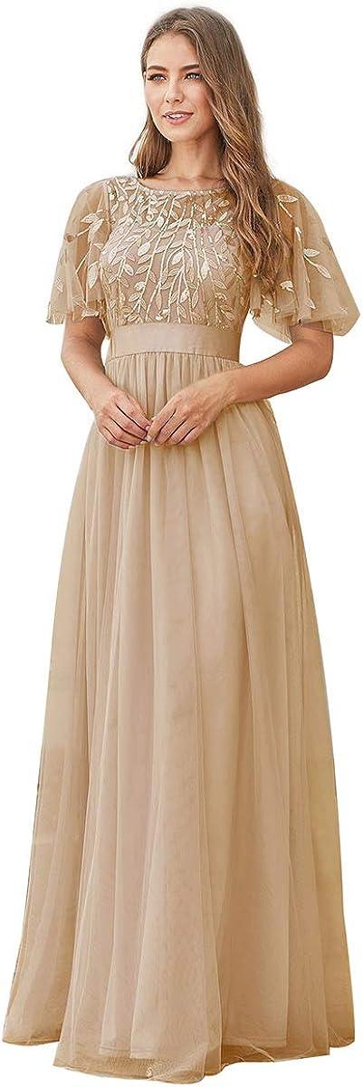 Alisapan Womens Elegant Short Sleeve Sequin Long Prom Evening Dresses 09041