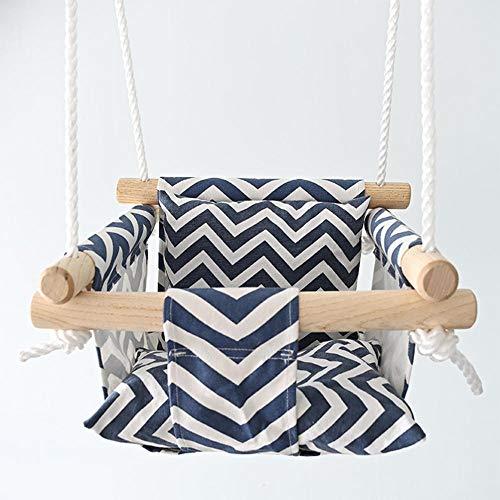 QMMCK silla de columpio para bebé de rayas de algodón colgante de madera para niños juguete de jardín de infantes exterior interior canasta pequeña columpio para bebé