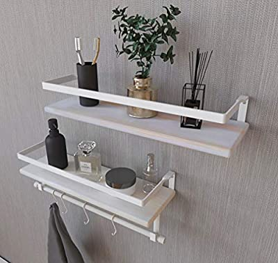Kaliza White Bathroom Shelves – Wall Mounted Shelves, Rustic Décor for Bathroom, Bedroom, Kitchen, Living Room – Wooden Storage Shelf/Storage Rack – Incredibly Easy to Install - 2 Pack(White)