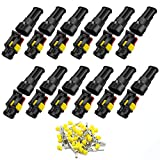 12 Pack 2 Pin Way Car Waterproof Electrical Connector HID Plug Automotive 1.5mm Series Terminal Connectors for Car, Truck, Boat