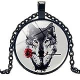 Neue heiße Kunst Charme Wolf und Rose Anhänger Runde Foto Glas Cabochon Halskette Geschenk Damen Pullover Kette 50cm