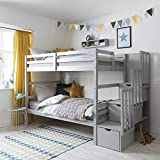 Noa and Nani - Maya Bunk Bed with Steps and Drawers - (Silk Grey)